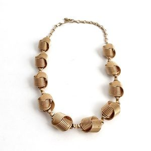 Vintage Knot Necklace Woven Gold Costume Jewelry